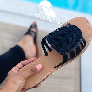 Shoes - Black Mexican Huarache Style Flip Flop Slides